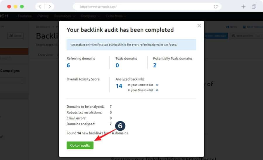 Backlink audit has been done - an arrow is pointing to view the result