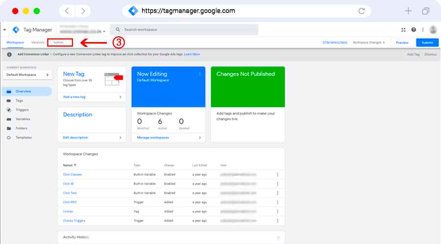 It is the main screen of Google tag manager where you can manage, edit, add, and delete.